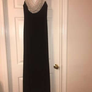 Black/silver evening gown. Worn only once!